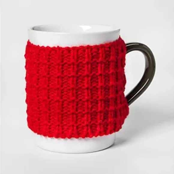 Threshold Other - Stoneware Mug Dressed in Red Sweater